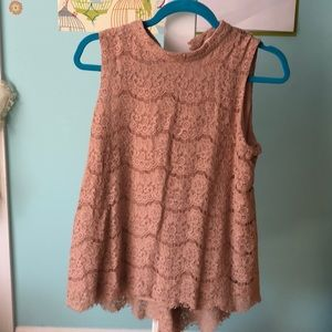 Rose + Olive Rose-Colored Lace Tunic
